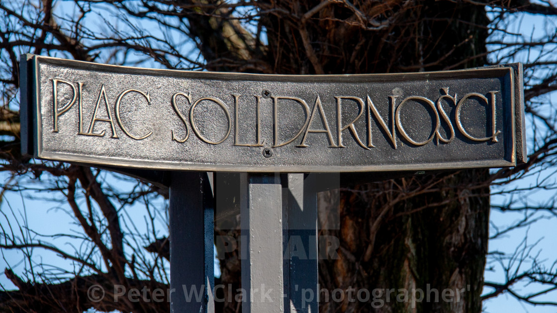 """Place sign for Monument to the Fallen Shipyard Workers of 1970 Gdansk, Poland"" stock image"