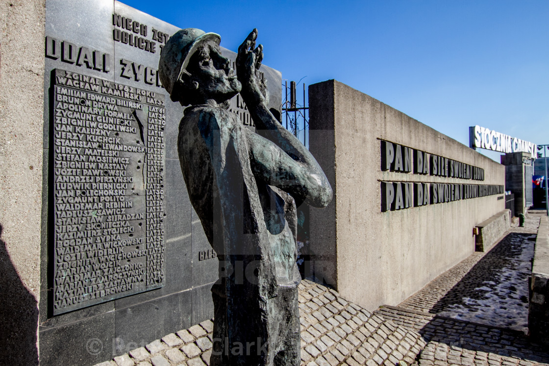 """Memorial Statue and Commemorative Plaques at Gdansk Shipyard, Poland"" stock image"