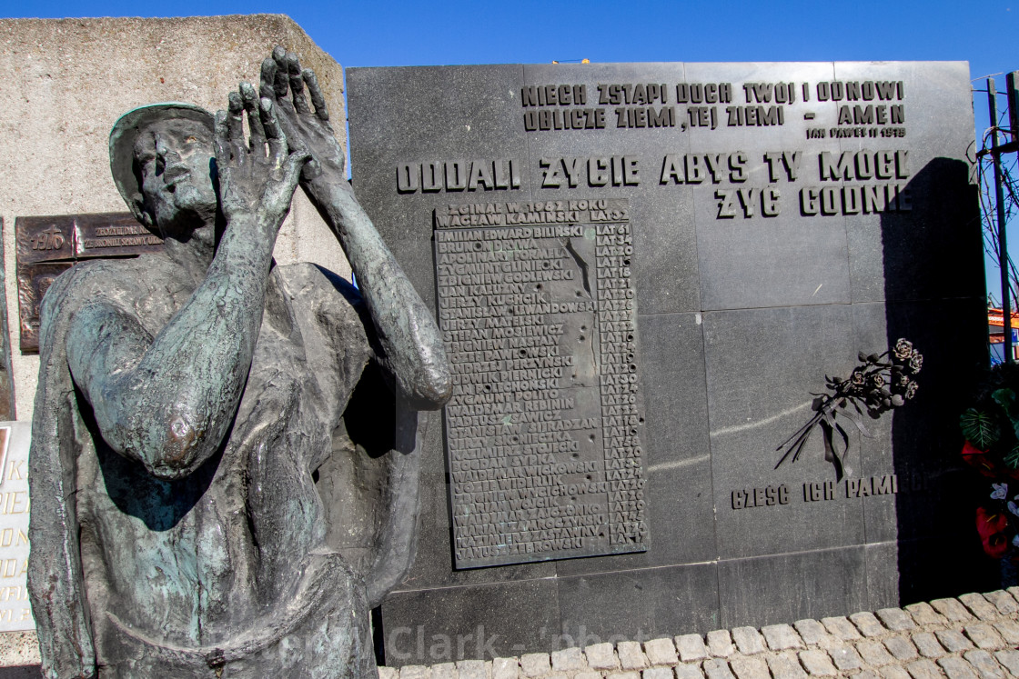 """Memorial Statue and Commemorative Plaques at Gdansk Shipyard, Poland, a memorial of the fallen shipyard workers 1970"" stock image"