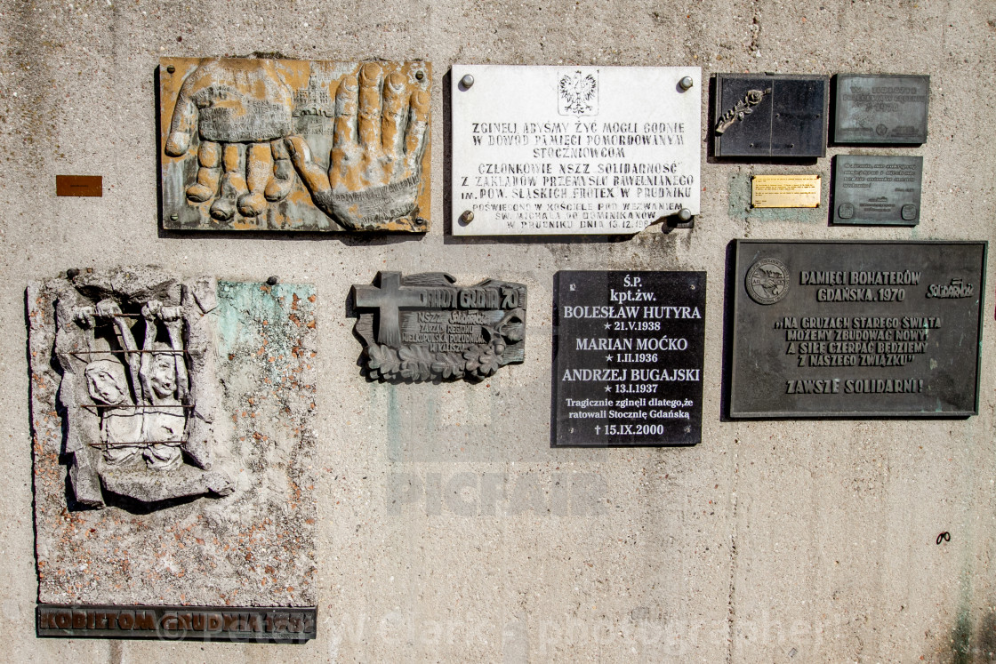 """Commemorative Plaques at Gdansk Shipyard, Poland, a memorial of the fallen shipyard workers 1970"" stock image"