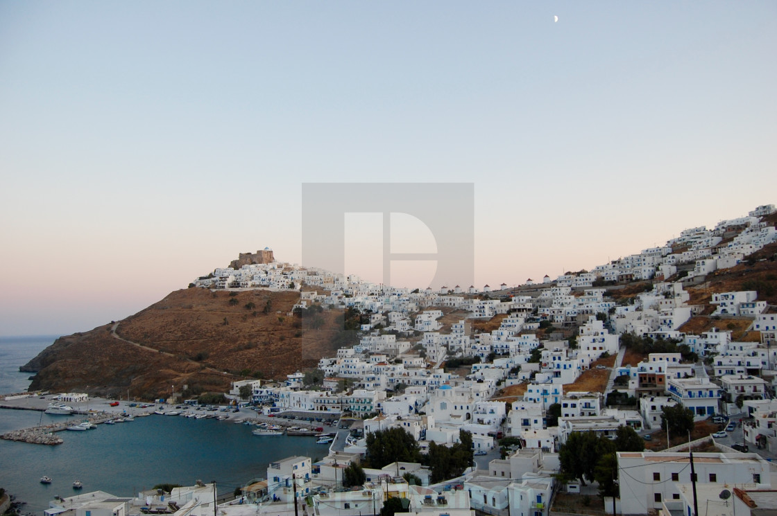 """View of Chora with the historic Querini Castle at the top - Astypalea Island, Greece"" stock image"