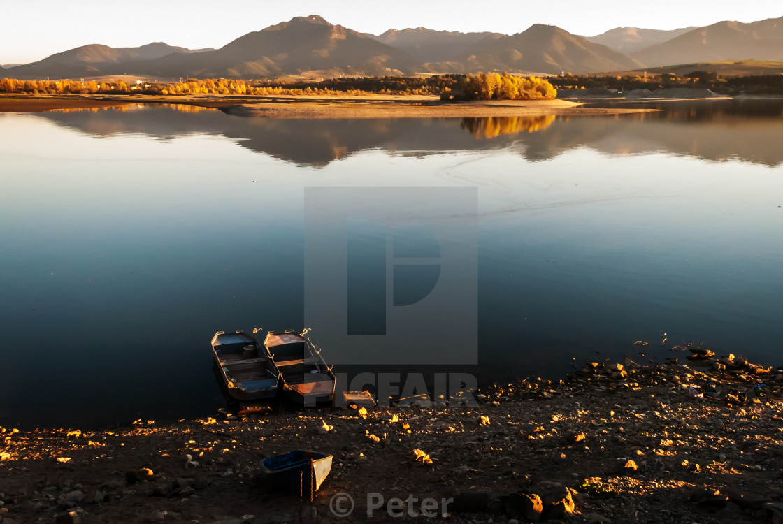 """""""Boats on the Lake"""" stock image"""