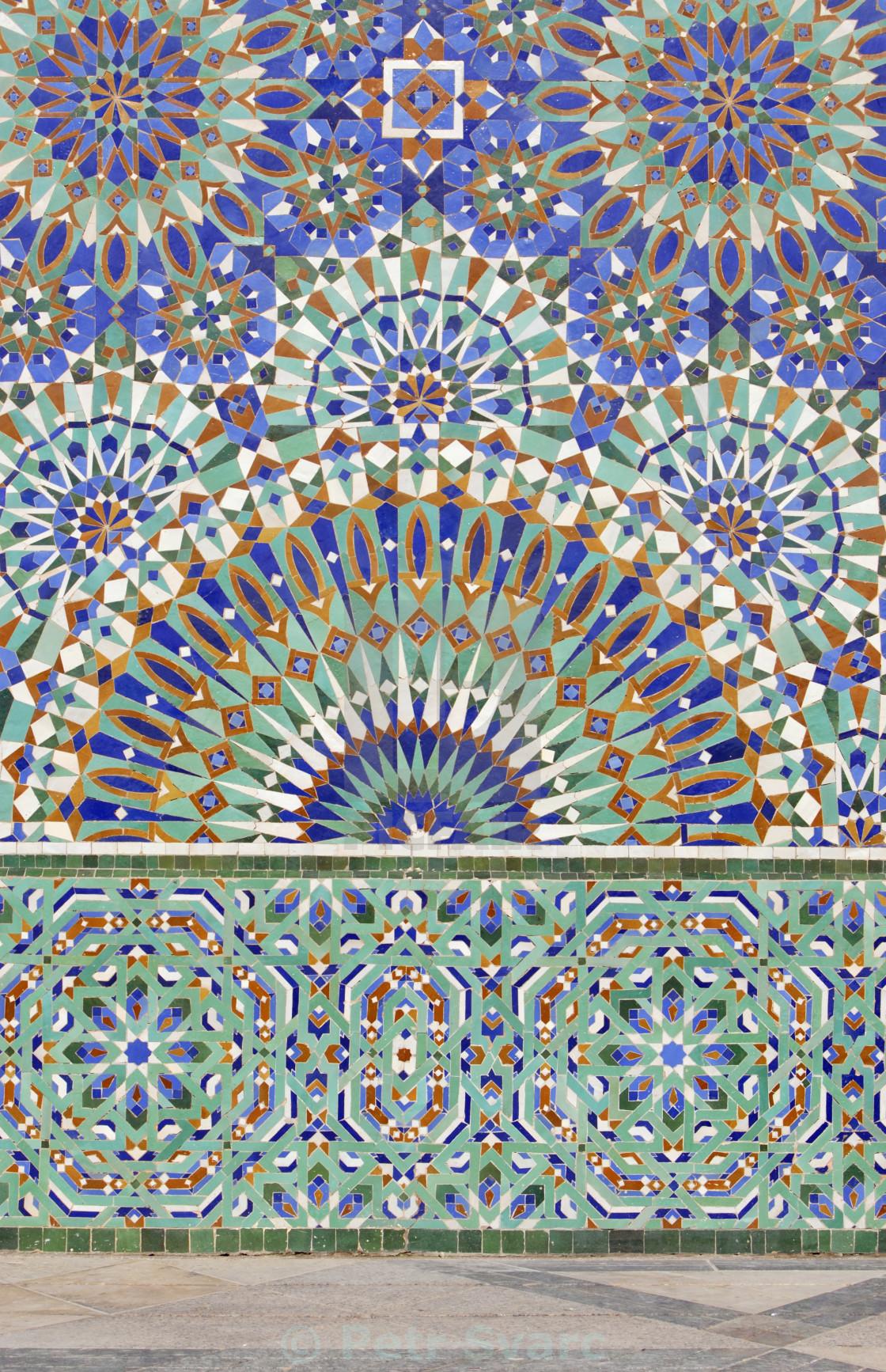 """Mosaic, Hassan II Mosque, Casablanca, Morocco"" stock image"