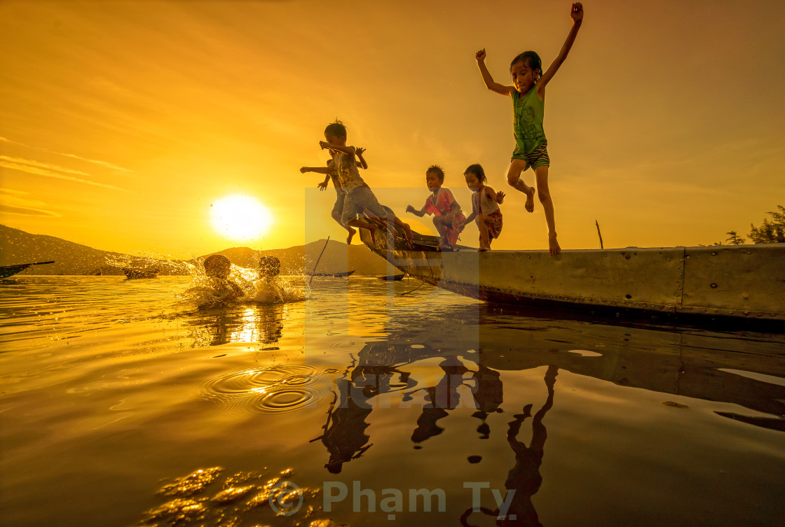 """Kids in the summer"" stock image"