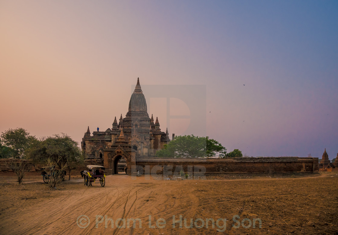 """Sunrise on an ancient temple in Bagan, Myanmar"" stock image"