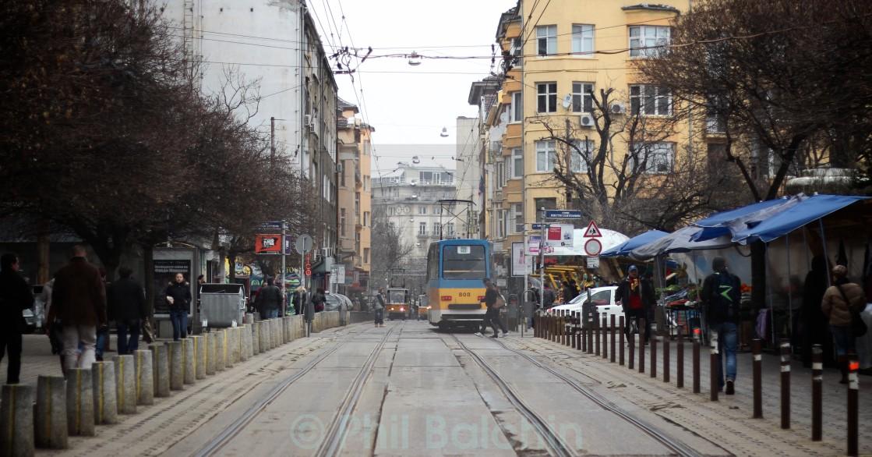 """Trams in Sofia"" stock image"
