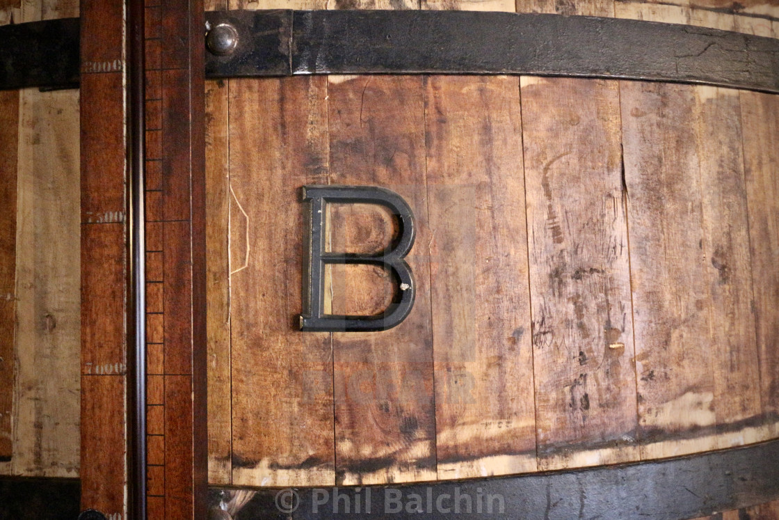 """Metal B on Wood Cask"" stock image"
