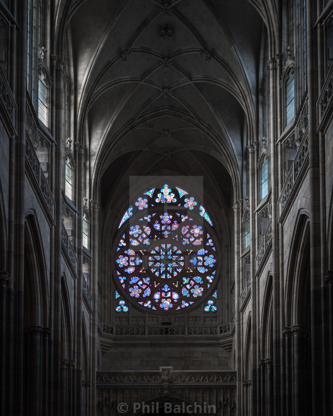 """A Cathedral Rose window, Prague, Czechia"" stock image"