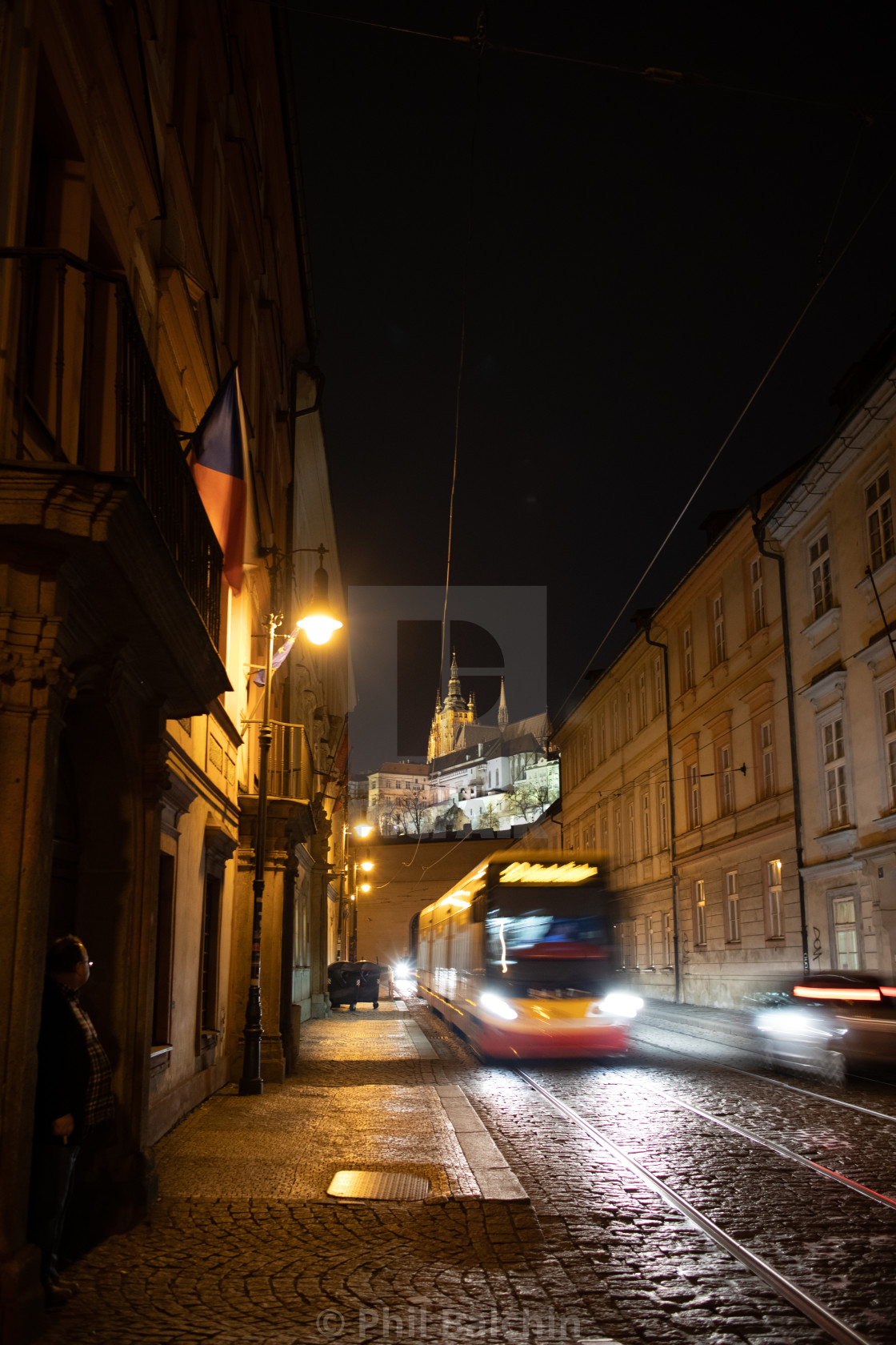 """Nighttime tram in Prage, czechia"" stock image"