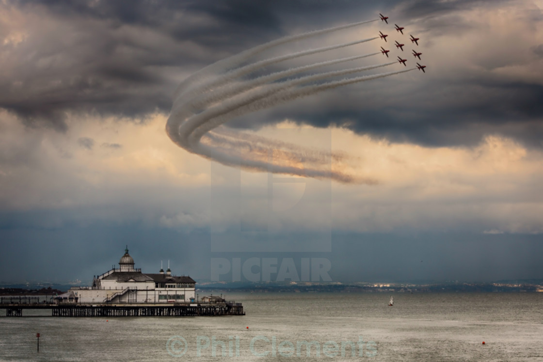 """Red Arrows over Eastbourne Pier"" stock image"