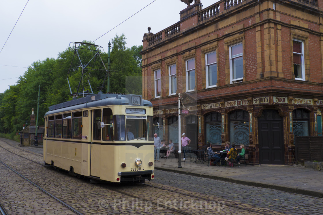A Vintage German Tram passese the restore