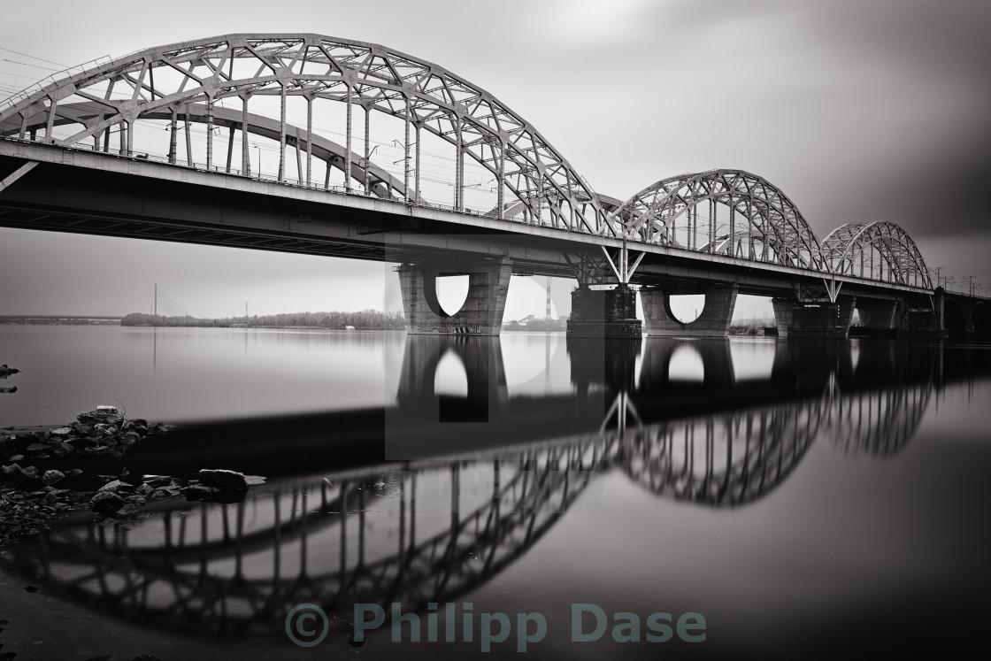 """Bridge Reflection b&w"" stock image"