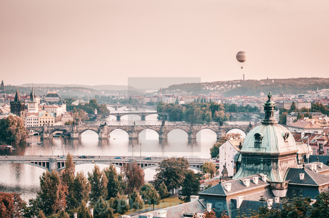 """Balloon over Prague"" stock image"