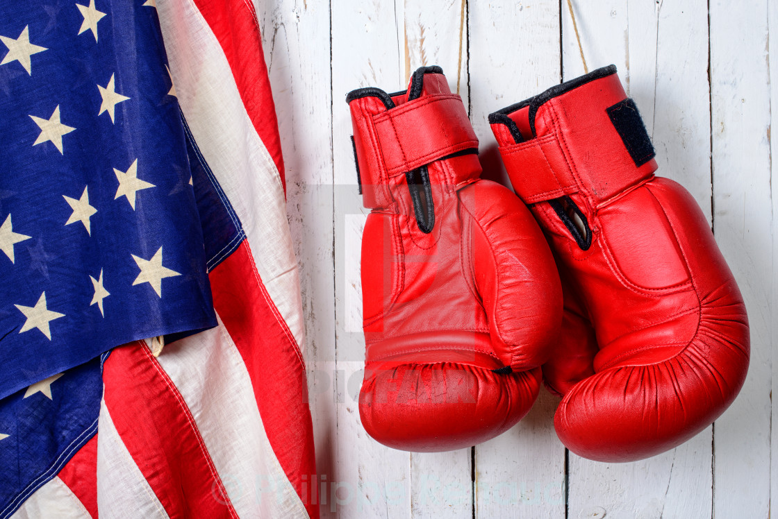 """""""red boxing gloves with an American flag"""" stock image"""