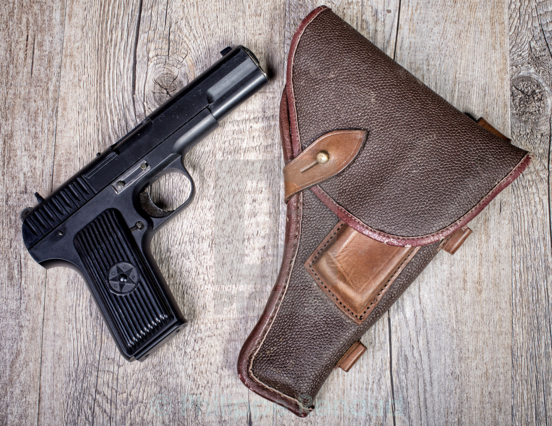 """Soviet gun with holster"" stock image"