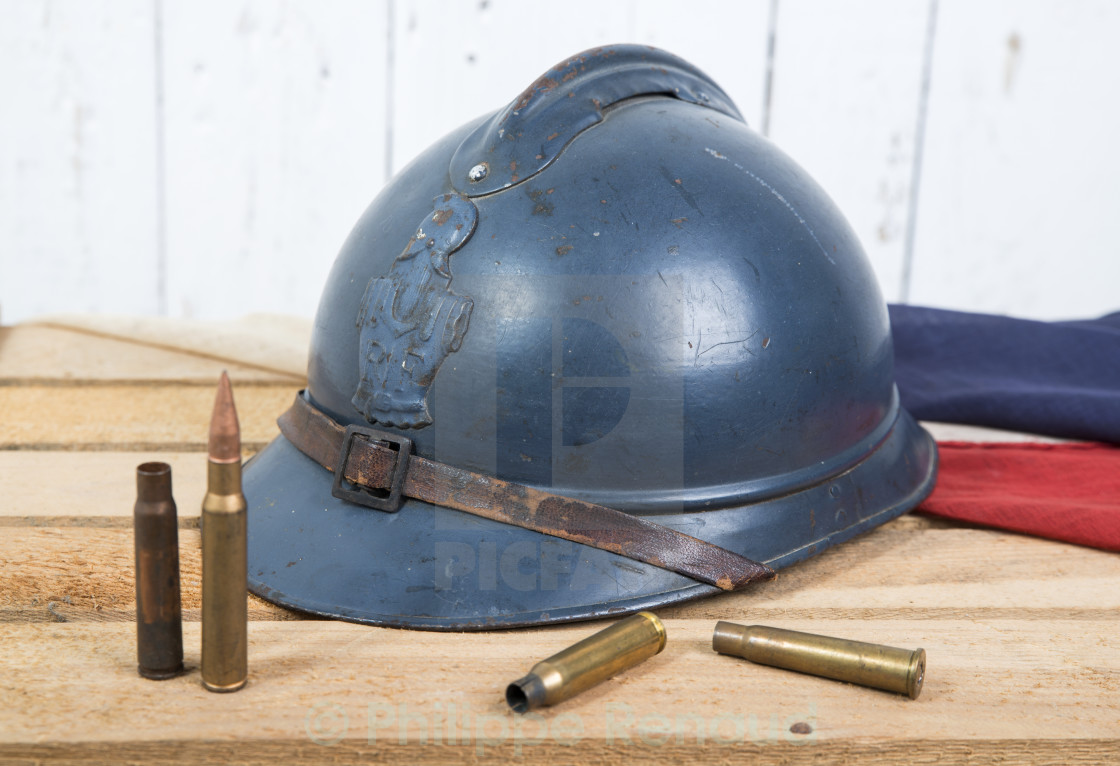 """french helmet and old french flag"" stock image"