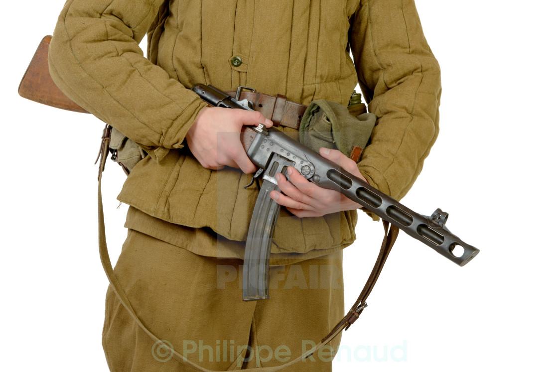 """close-up on the machine gun PPSH-41"" stock image"