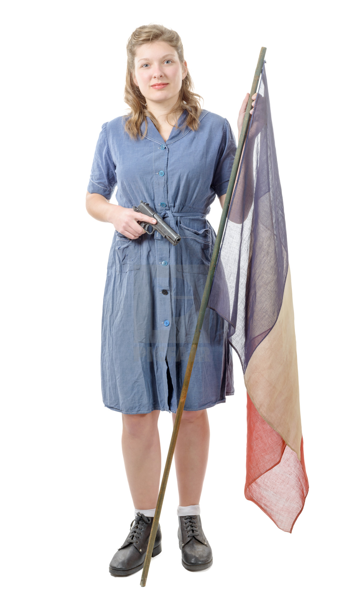 """""""Woman resistant in 1944, with a French flag"""" stock image"""