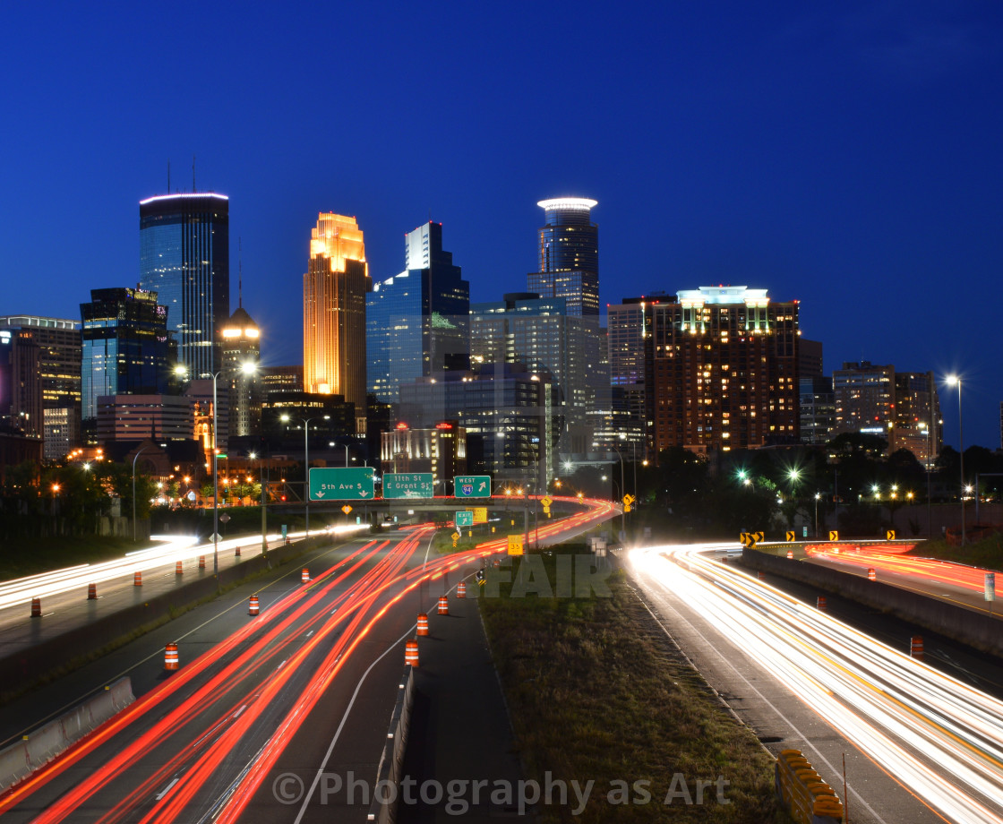 Minneapolis Skyline with Light Trails