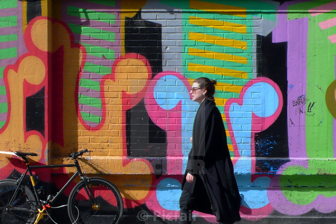 """Woman in Shoreditch"" stock image"