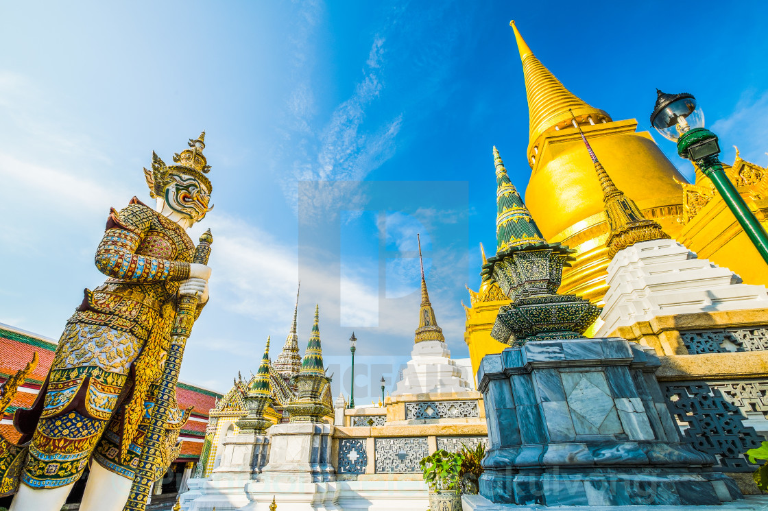 """Giants from the famous emerald temple from Bangkok, Thailand"" stock image"