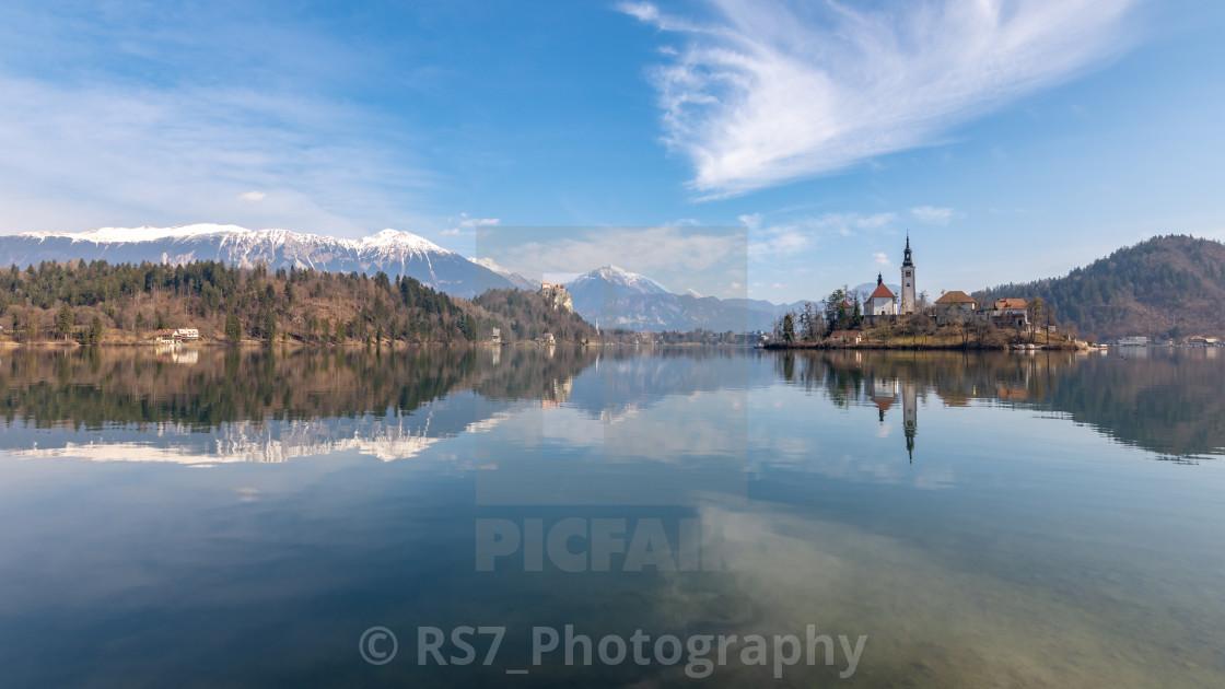 """Lake Bled in Spring"" stock image"