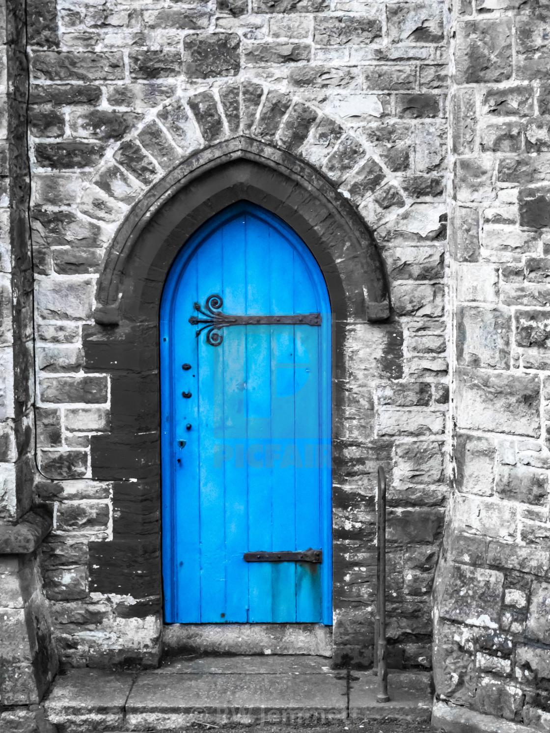"""Blue Church Door Penzance Cornwall"" stock image"