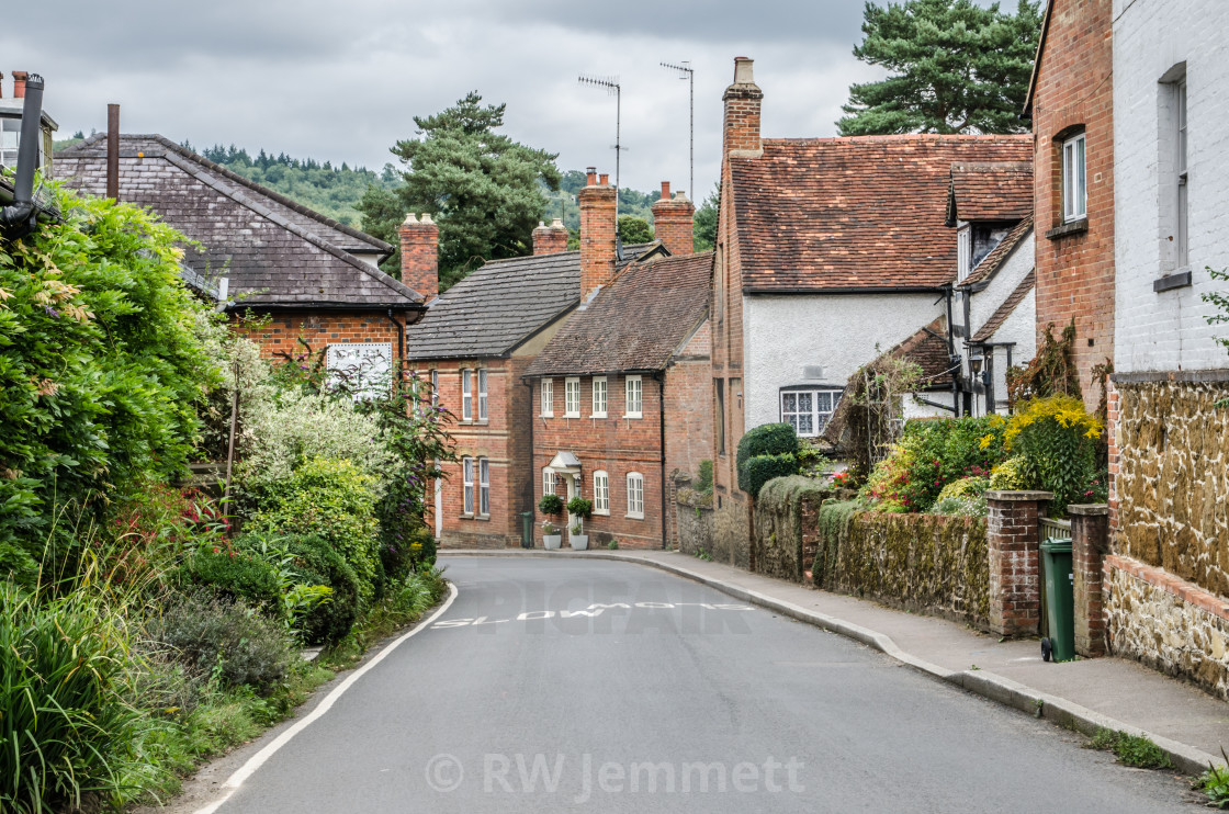 """Road going into Shere Village"" stock image"