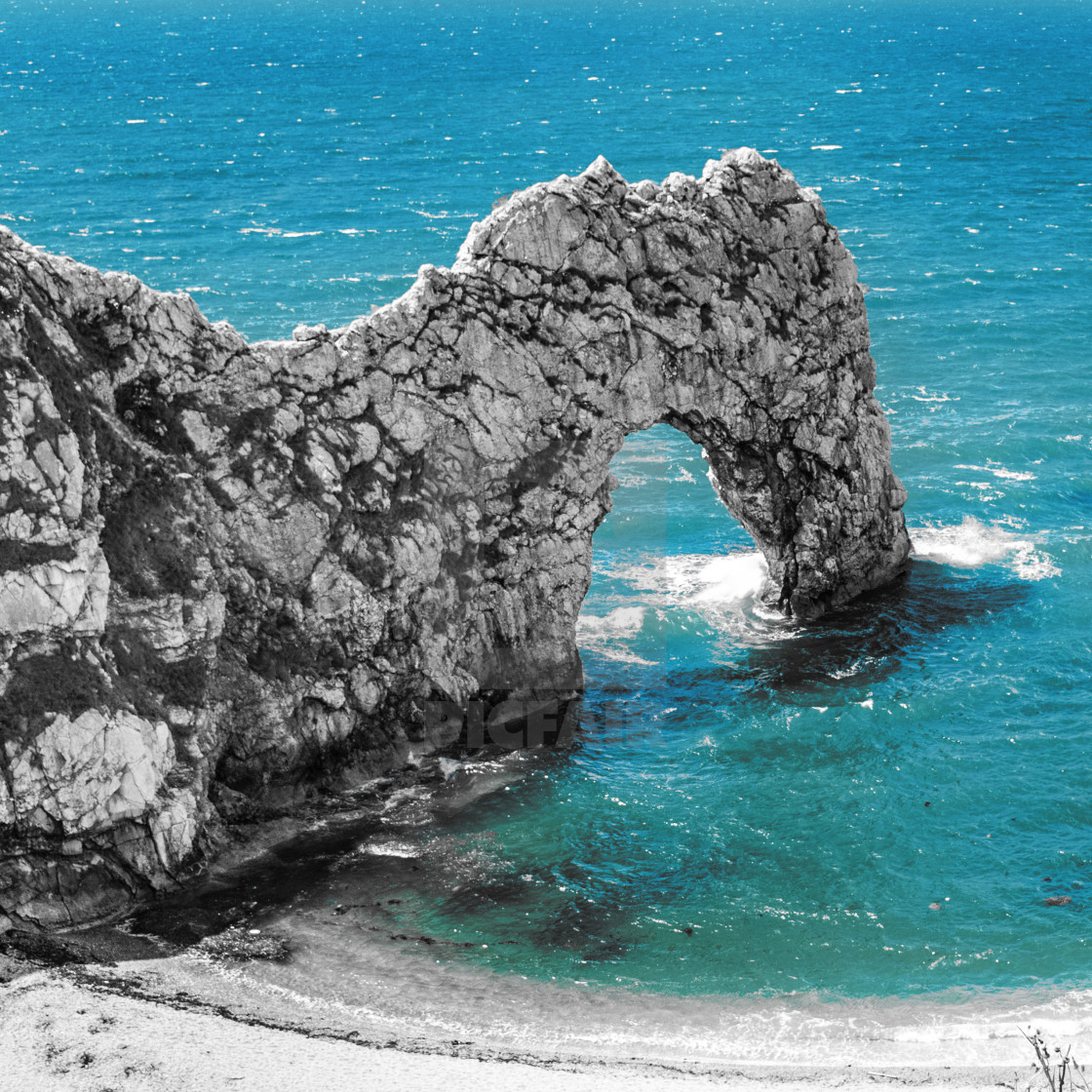 """Durdle Door rock arch. Lulworth on the Dorset Coast Southern England."" stock image"