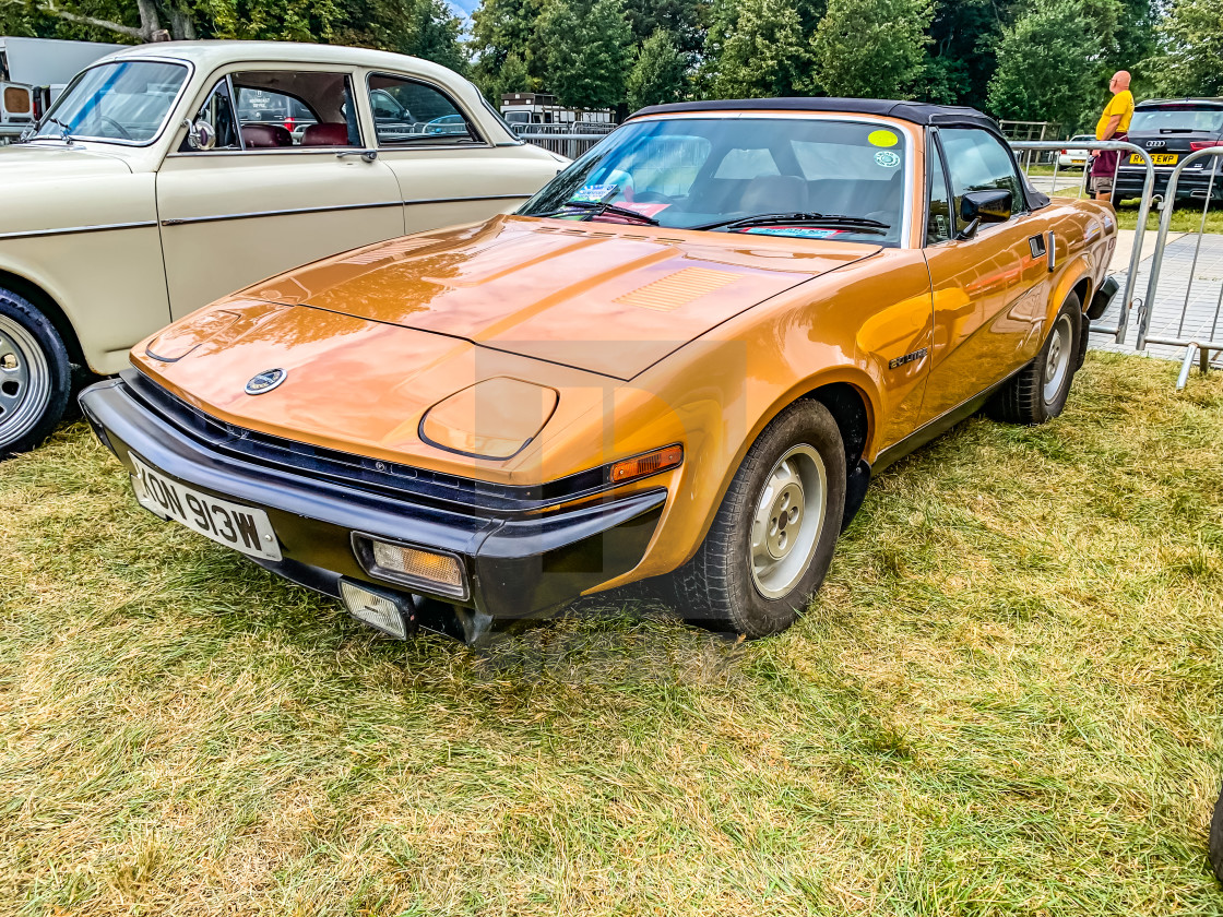 """Tichborne, Hampshire, England September 7 2019. Triumph TR7 Roadster,..."" stock image"