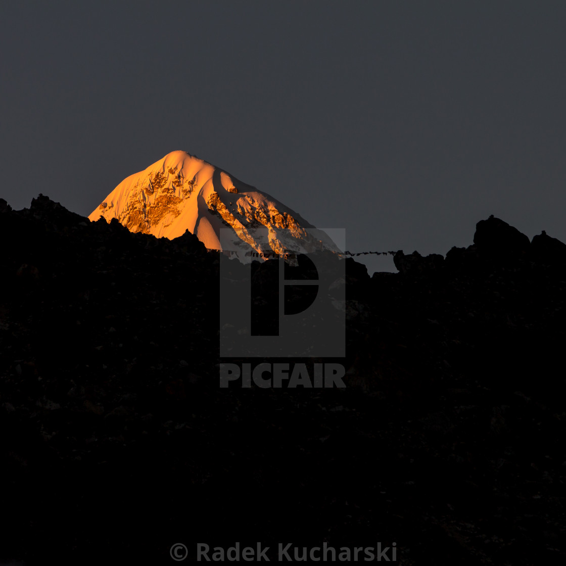 """Pumori (7161m) – view from Lobuche at sunset."" stock image"