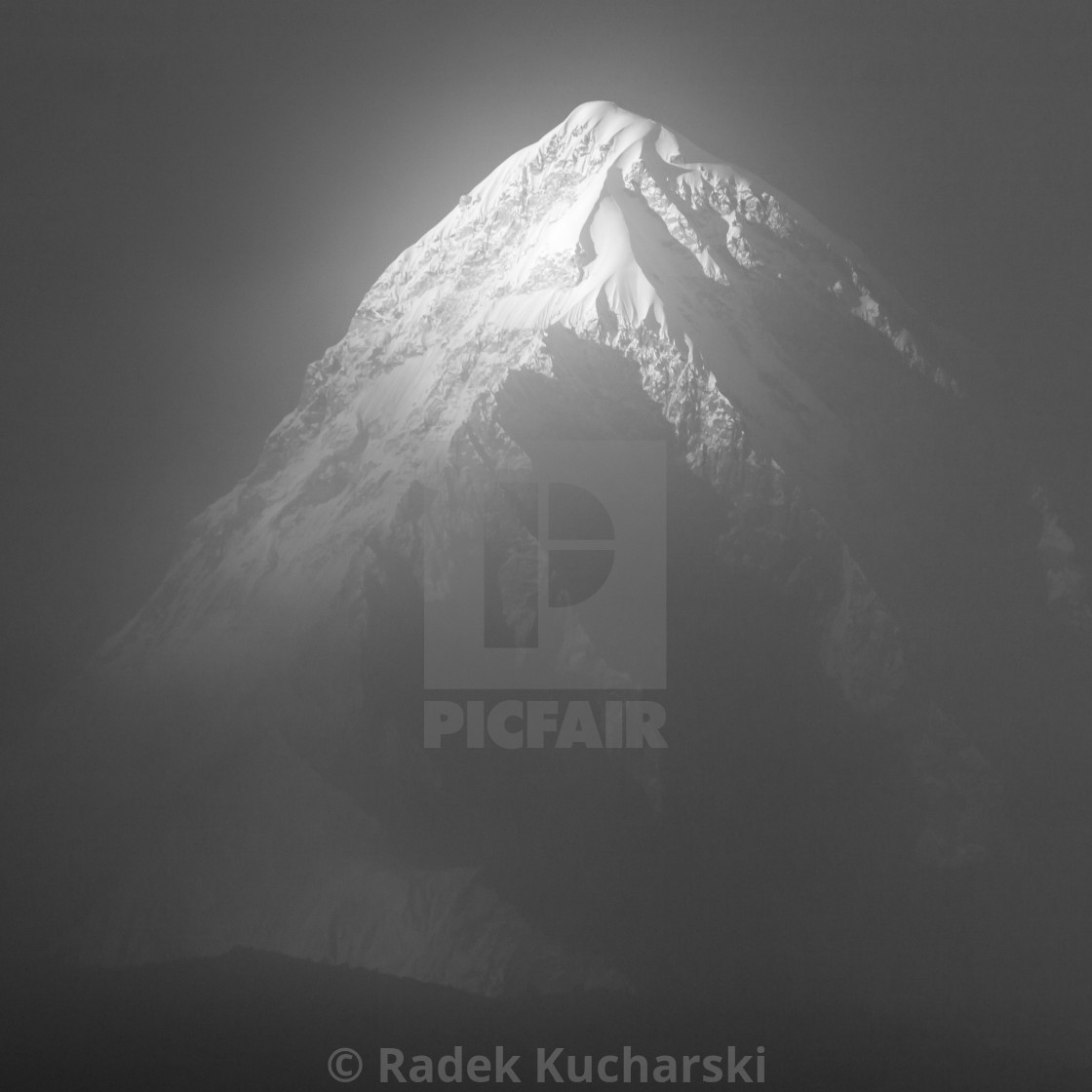 """Pumori covered with a thin cloud. A late afternoon view in B&W."" stock image"