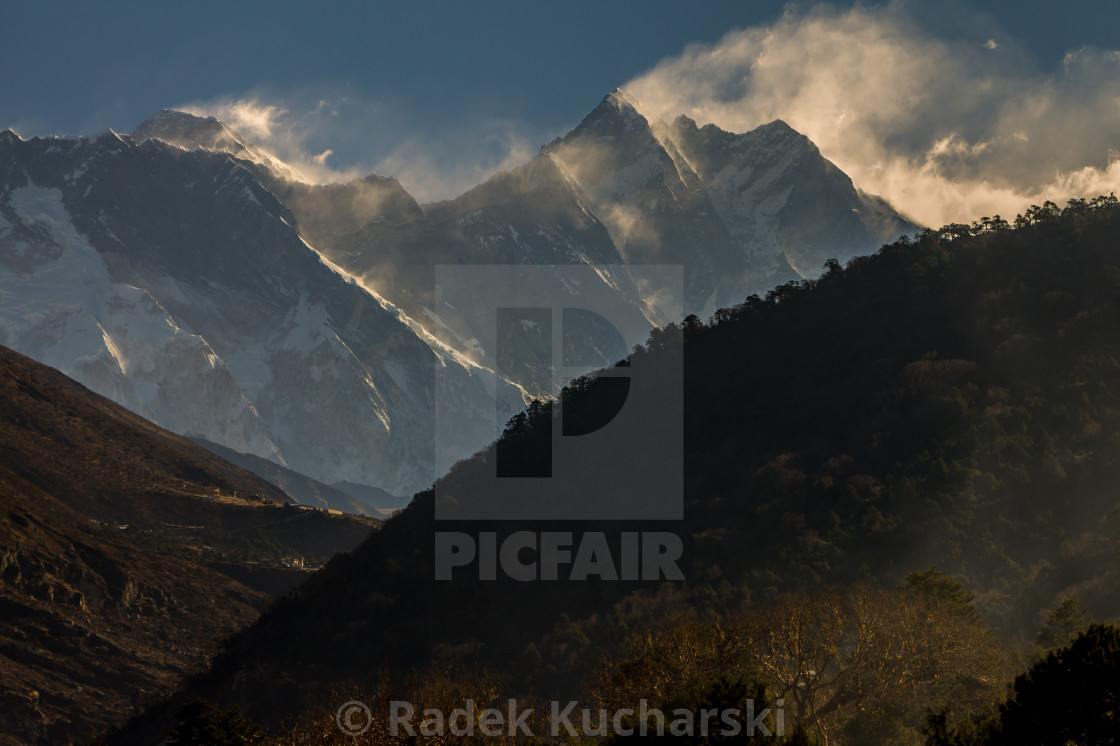 """Nuptse - Lhotse Ridge and Everest above. A morning view from Deboche."" stock image"
