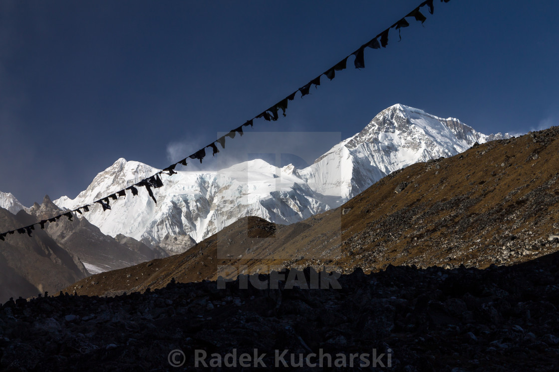 """Cho Oyu (8201m) seen from Gokyo"" stock image"