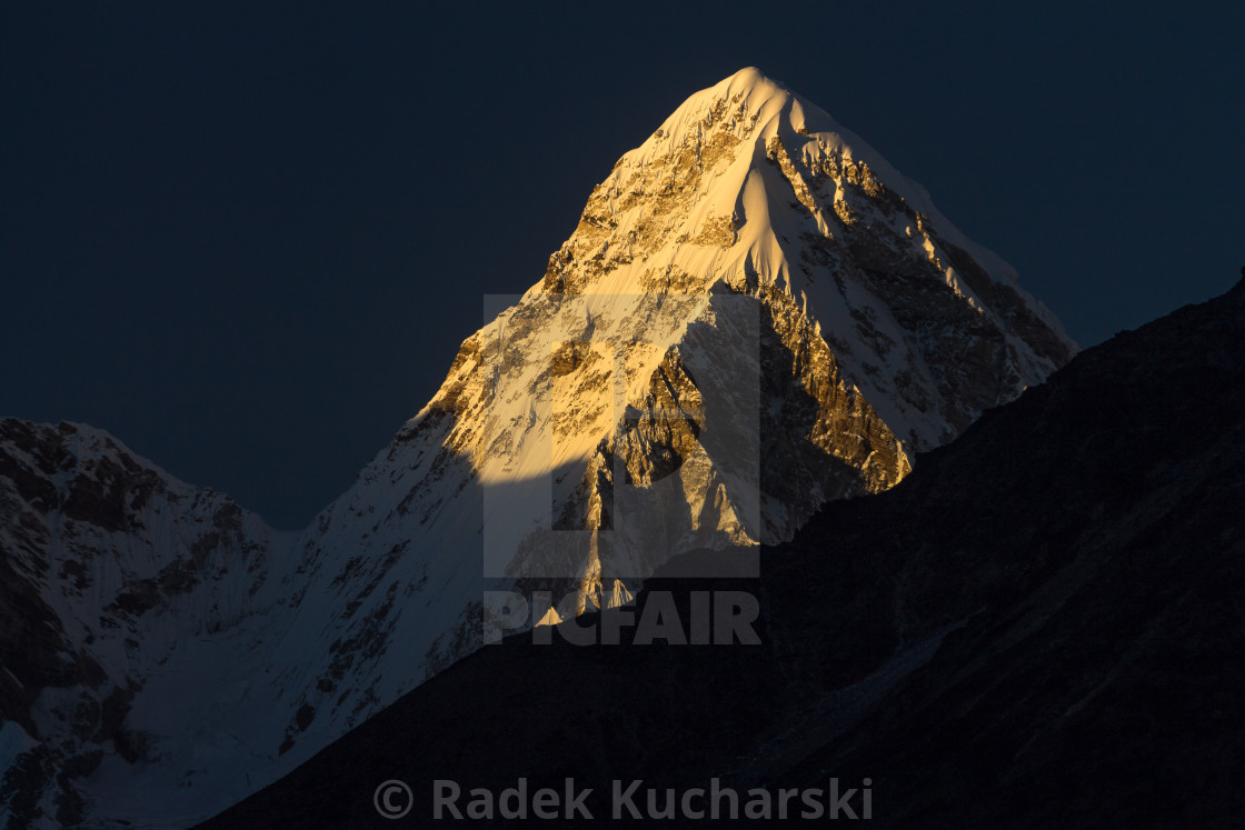 """Pumori (7161m) at sunset"" stock image"