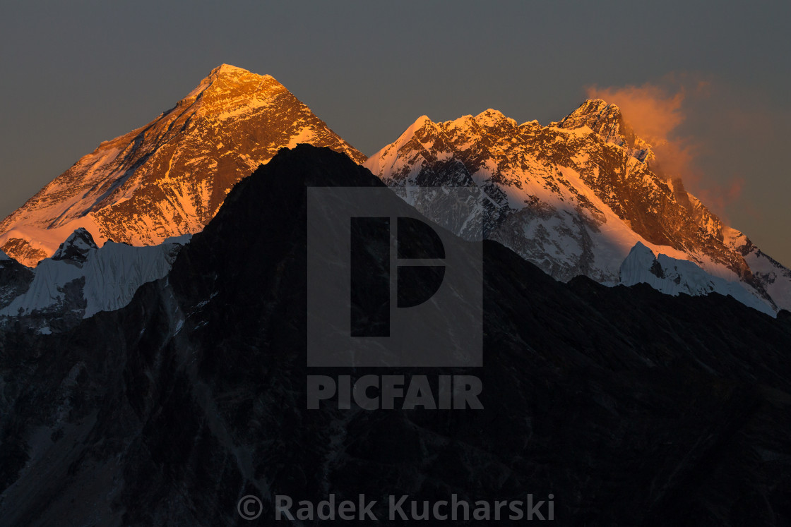 """Mount Everest and Lhotse at sunset. View from Gokyo Ri."" stock image"
