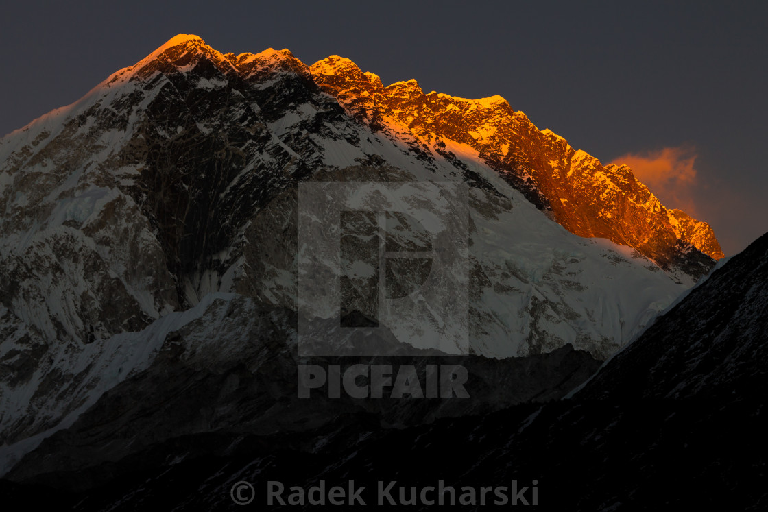 """Nuptse at sunset"" stock image"