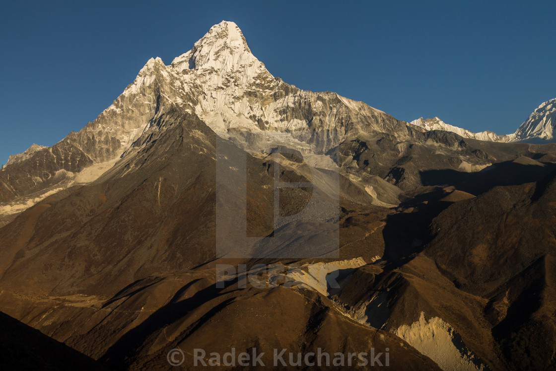 """Ama Dablam seen at sunset from a ridge high above Panboche"" stock image"