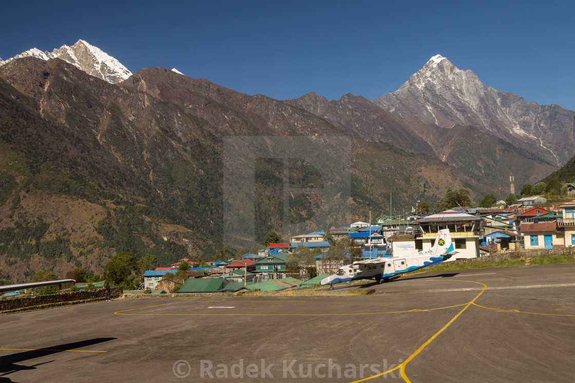 """Tara Air aircraft taking off from the Lukla Airport"" stock image"