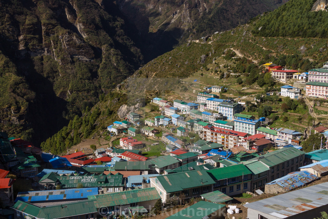 """Namche Bazaar, the famous capital of the Sherpas' land"" stock image"