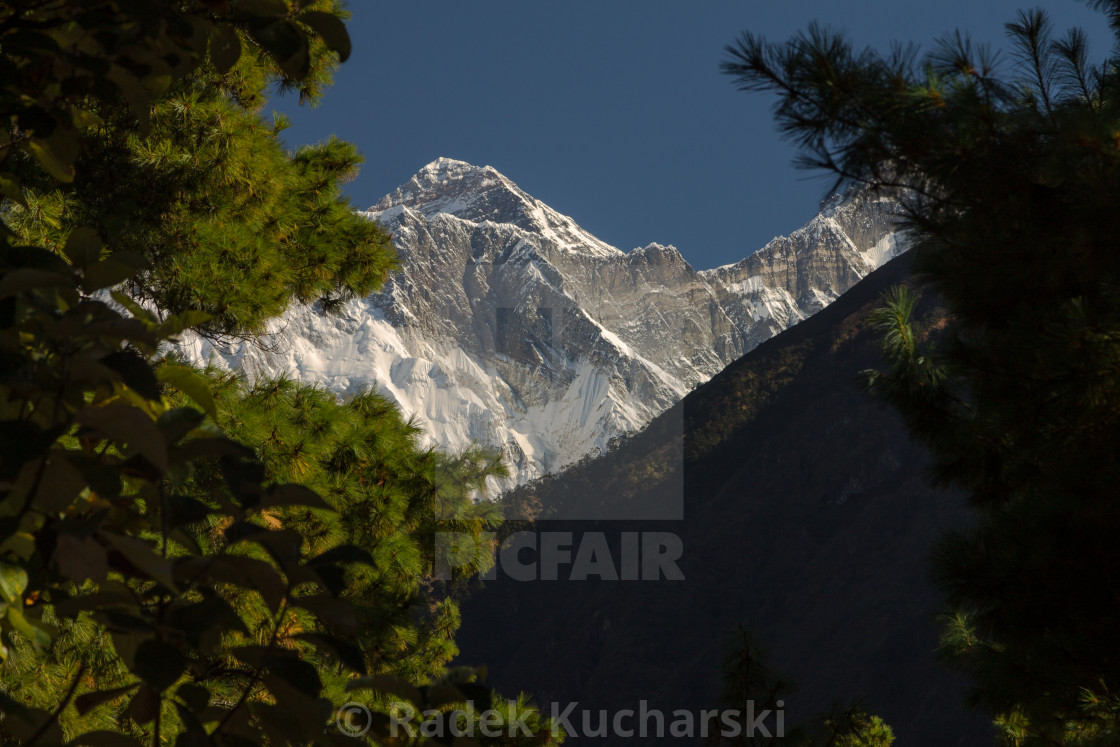 """Mount Everst seen from the way to Namche Bazaar"" stock image"
