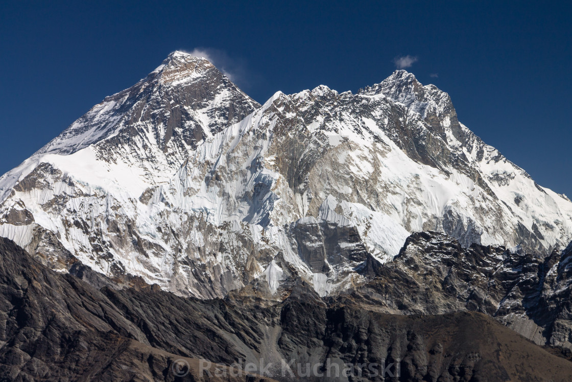 """Everest, Nuptse and Lhotse seen from Renjo La"" stock image"