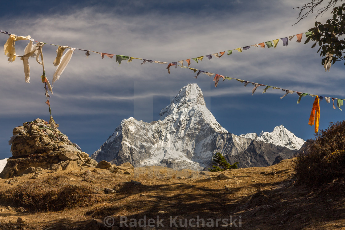 """Ama Dablam seen from the pass between Khumjung and Syangboche"" stock image"