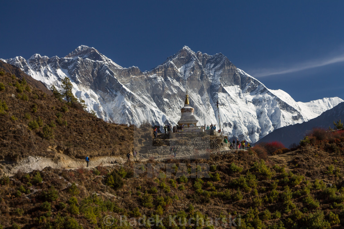 """Traverse above Namche Bazaar en-route to Everest Base Camp"" stock image"