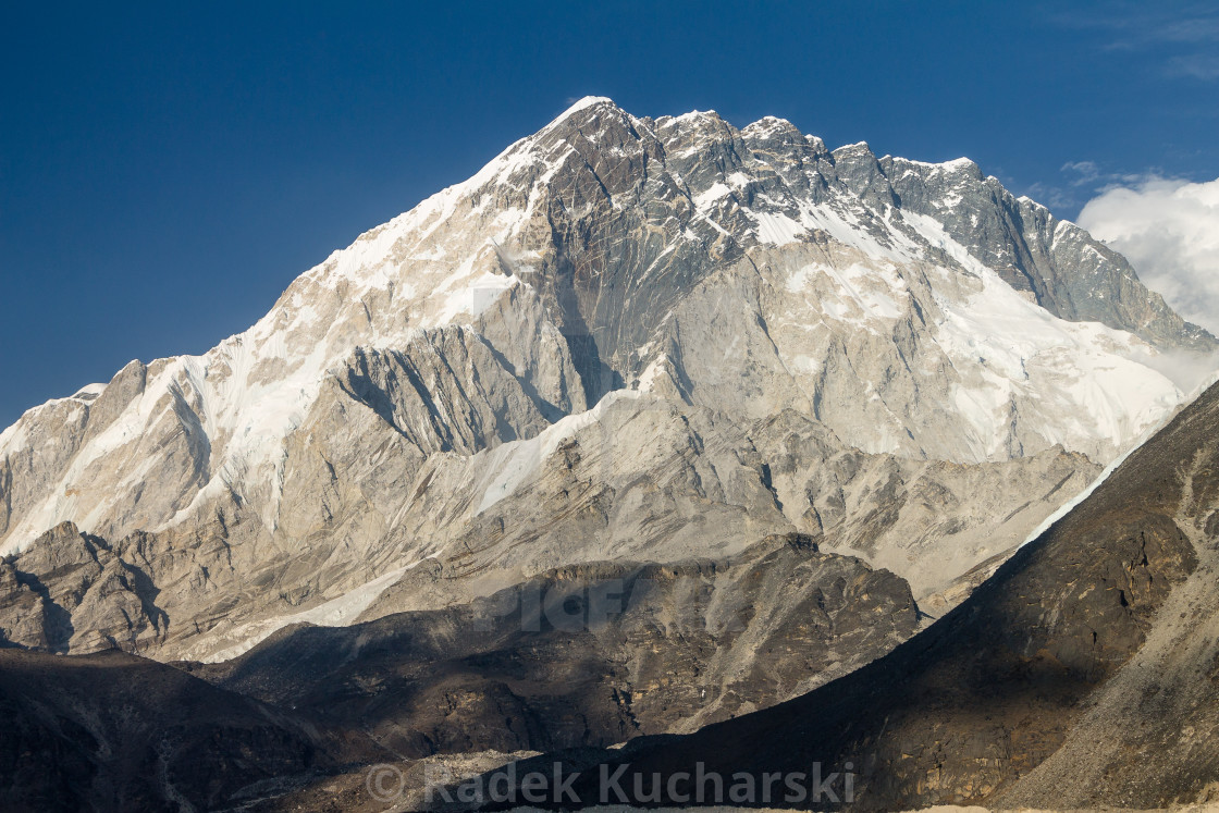 """Nuptse. A late afternoon view from Lobuche."" stock image"