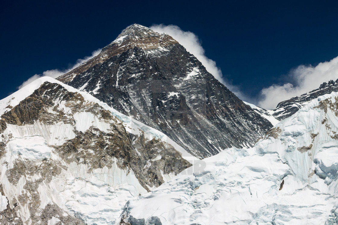 """Mt. Everest seen from the top of Kala Patthar peak"" stock image"