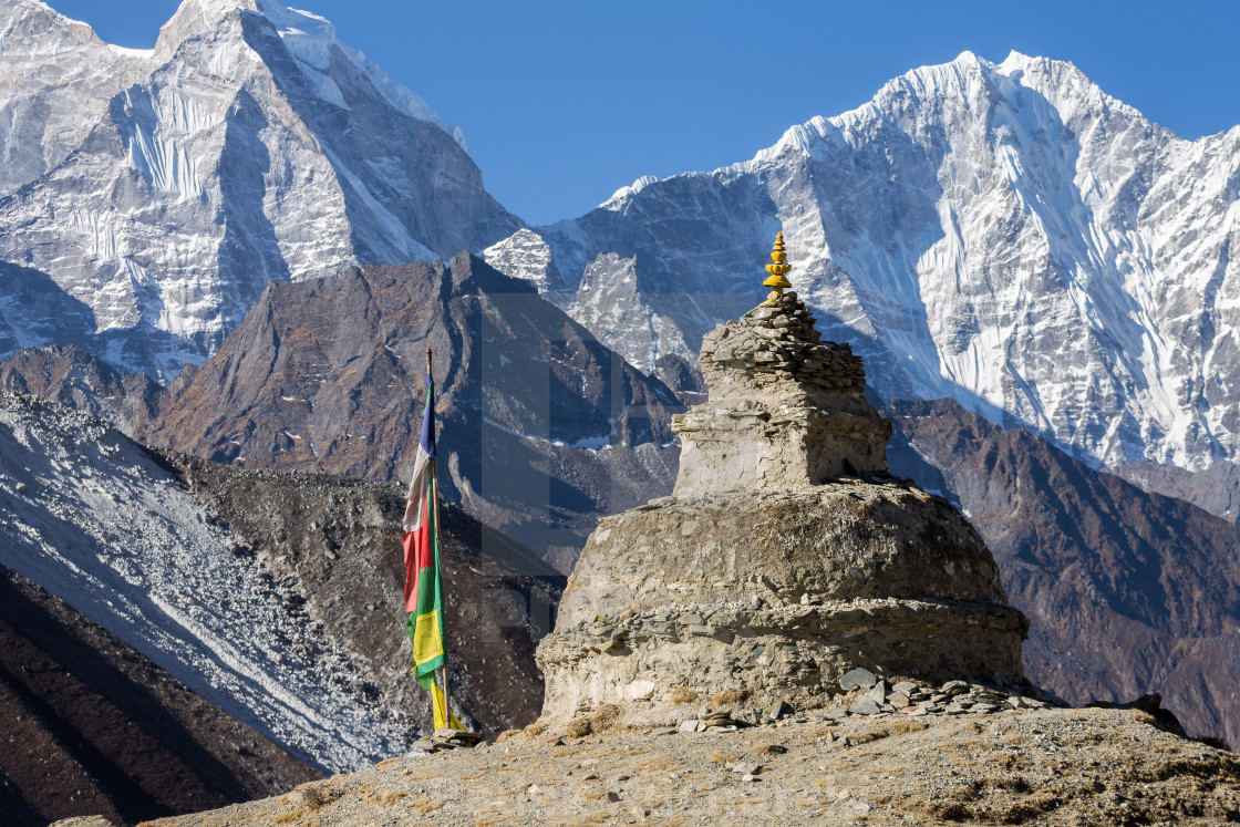 """Chorten above Dingboche"" stock image"