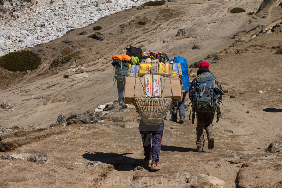 """Porter carrying a heavy load towards the Everest Base Camp"" stock image"
