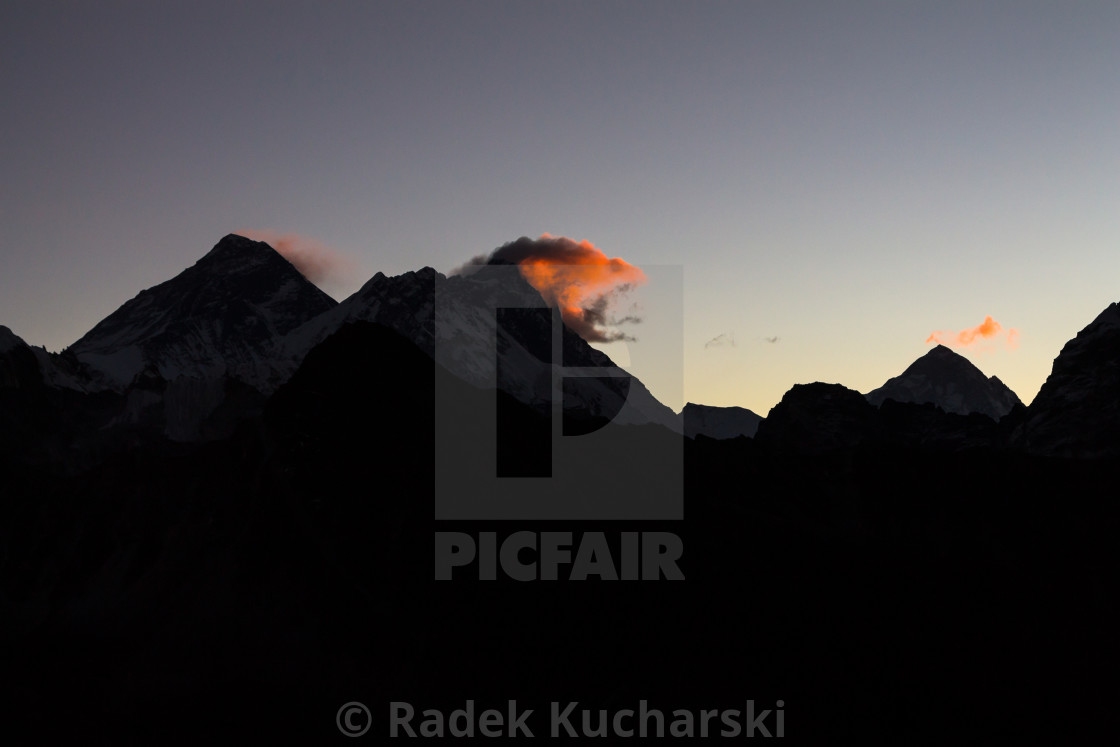 """Daybreak at Gokyo Ri: Everest, Nuptse, Lhotse, Makalu"" stock image"