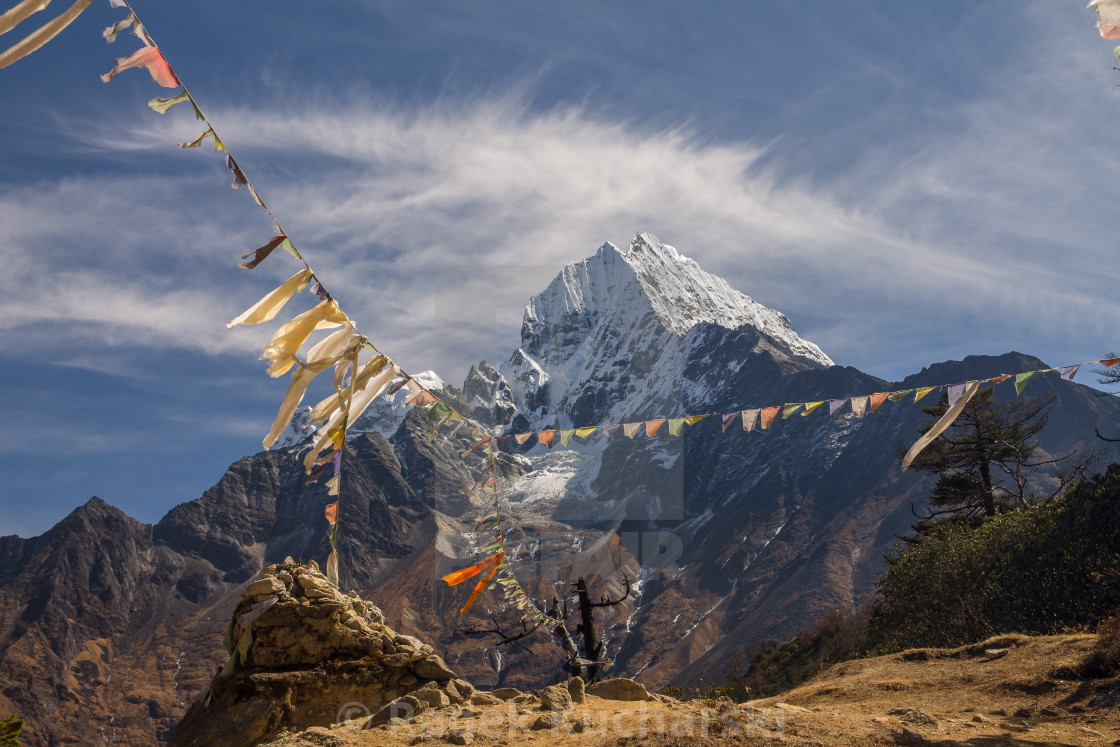 """Thamserku seen from the way between Namche and Khumjung"" stock image"